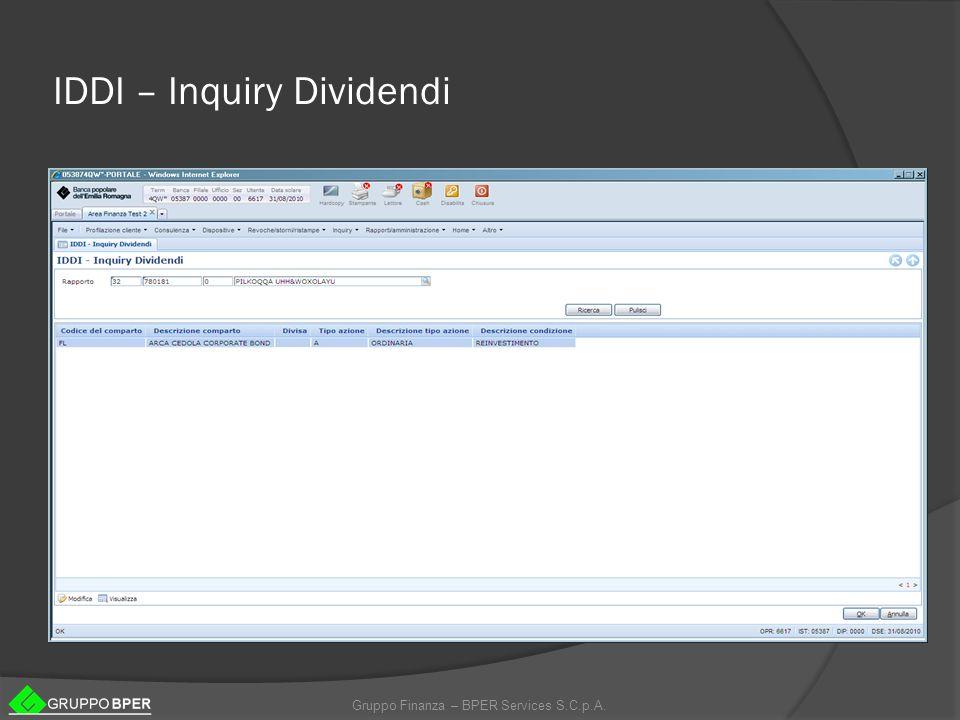 Gruppo Finanza – BPER Services S.C.p.A. IDDI – Inquiry Dividendi