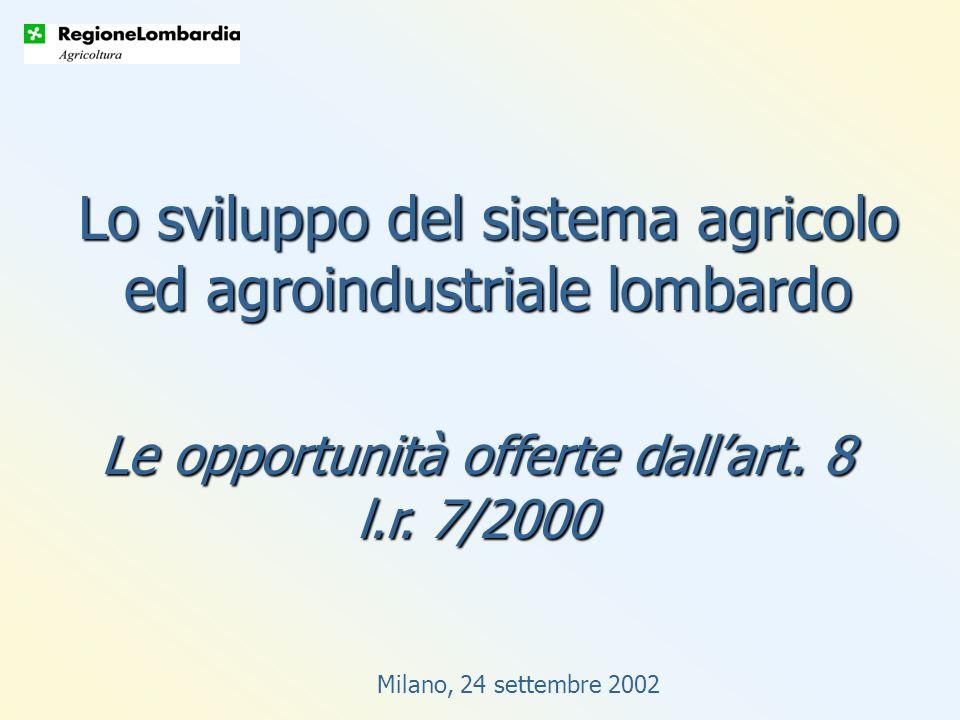 Milano, 24 settembre 2002 Lo sviluppo del sistema agricolo ed agroindustriale lombardo Le opportunità offerte dallart.