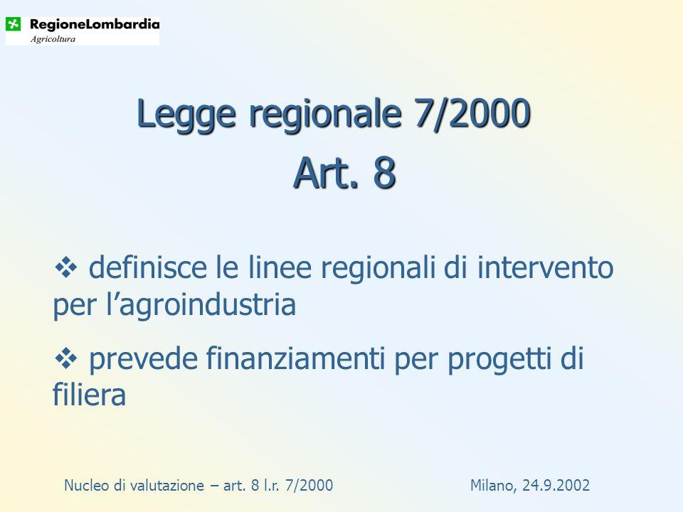 Nucleo di valutazione – art.8 l.r. 7/2000 Milano, 24.9.2002 Come .