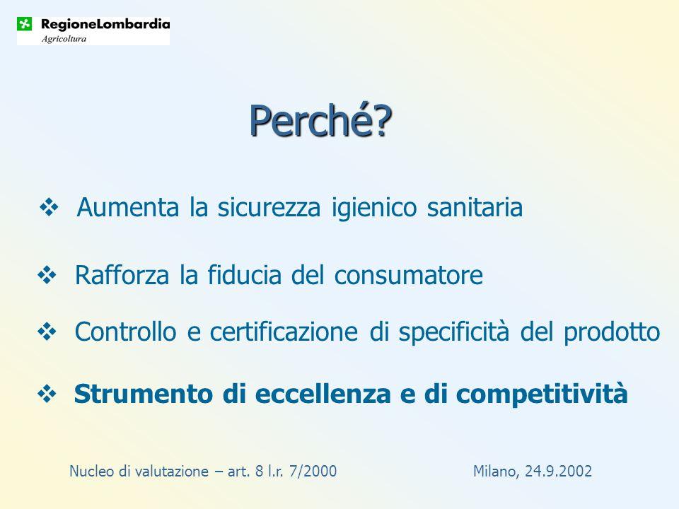 Nucleo di valutazione – art. 8 l.r. 7/2000 Milano, 24.9.2002 Perché.