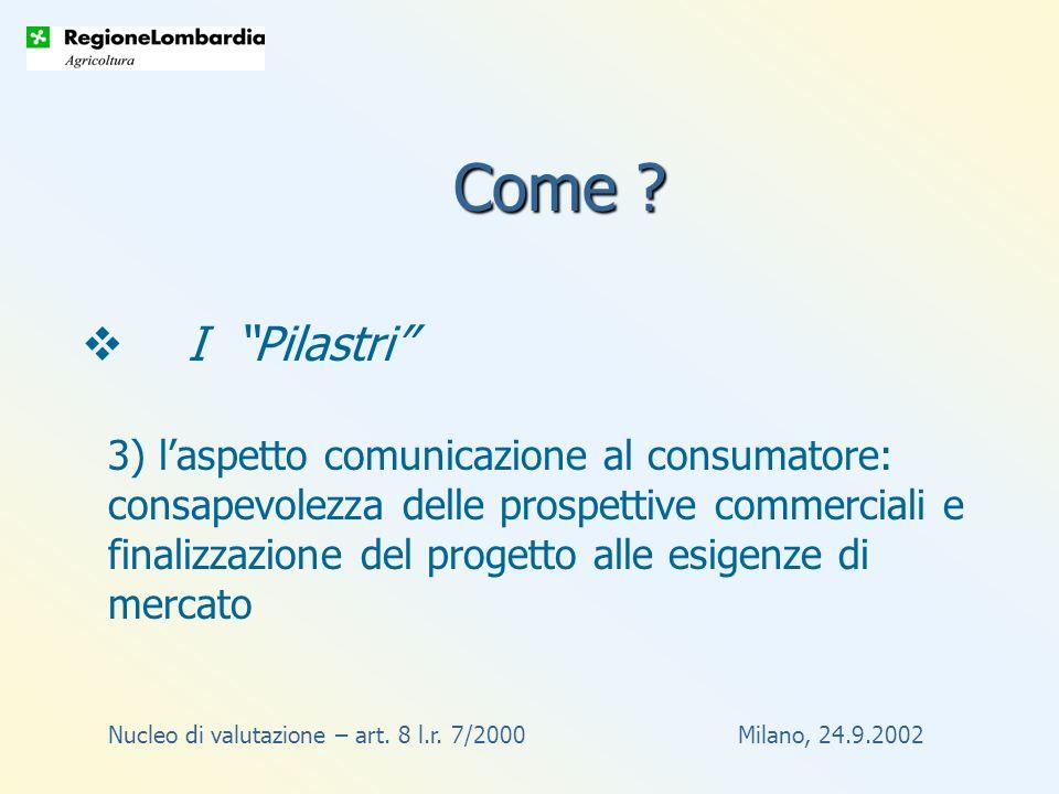Nucleo di valutazione – art. 8 l.r. 7/2000 Milano, 24.9.2002 Come .