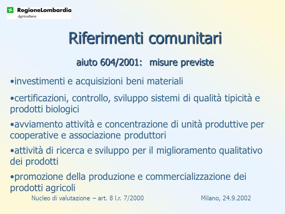 Nucleo di valutazione – art.8 l.r. 7/2000 Milano, 24.9.2002 Circolare approvata con d.g.r.