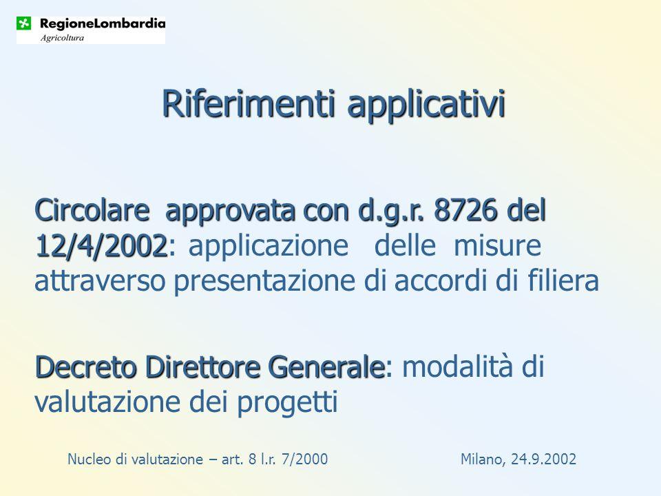 Nucleo di valutazione – art. 8 l.r. 7/2000 Milano, 24.9.2002 Circolare approvata con d.g.r.