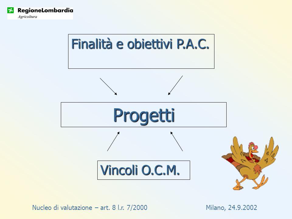 Progetti Finalità e obiettivi P.A.C. Vincoli O.C.M.