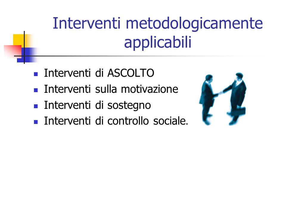 Interventi metodologicamente applicabili Interventi di ASCOLTO Interventi sulla motivazione Interventi di sostegno Interventi di controllo sociale.
