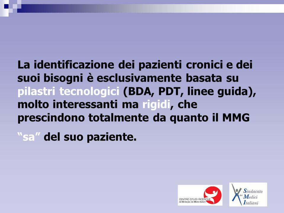 La identificazione dei pazienti cronici e dei suoi bisogni è esclusivamente basata su pilastri tecnologici (BDA, PDT, linee guida), molto interessanti ma rigidi, che prescindono totalmente da quanto il MMG sa del suo paziente.