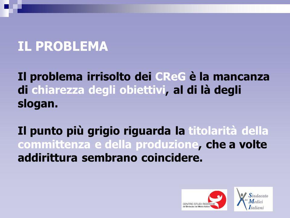 IL PROBLEMA Il problema irrisolto dei CReG è la mancanza di chiarezza degli obiettivi, al di là degli slogan.