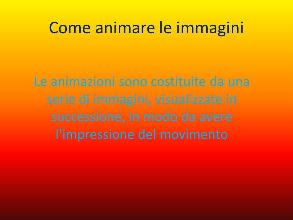 Come animare le immagini Le animazioni sono costituite da una serie di immagini, visualizzate in successione, in modo da avere l'impressione del movim