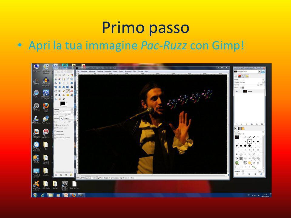 Primo passo Apri la tua immagine Pac-Ruzz con Gimp!