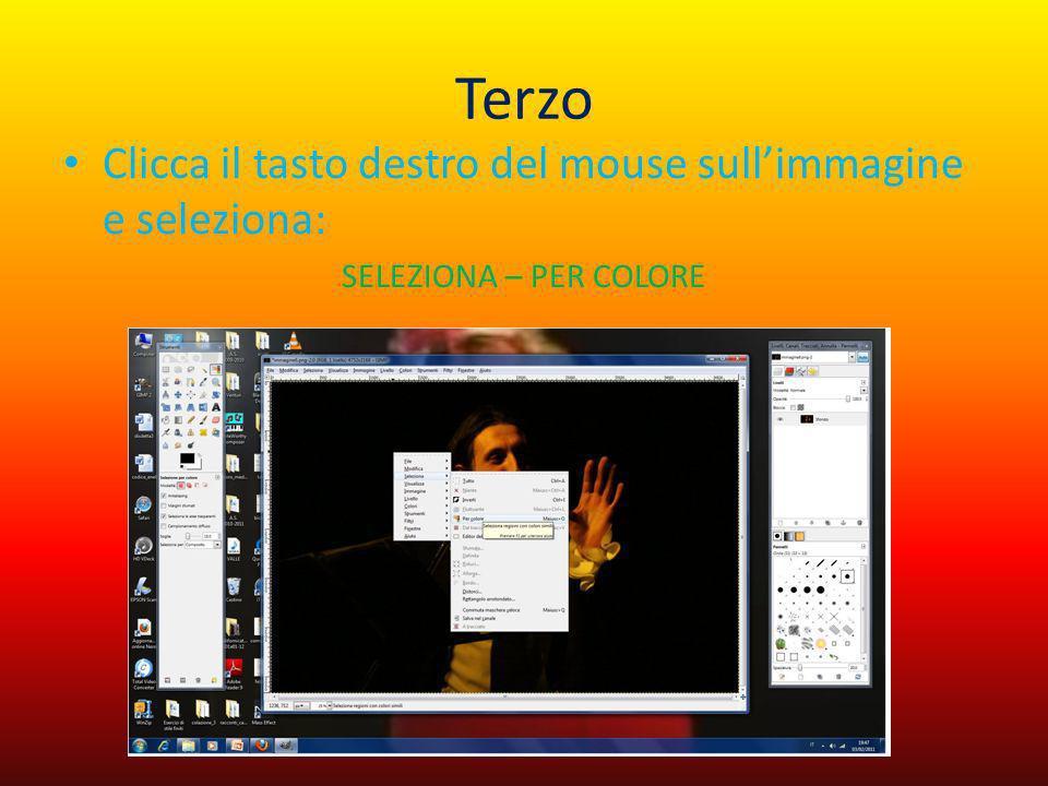 Terzo Clicca il tasto destro del mouse sullimmagine e seleziona: SELEZIONA – PER COLORE
