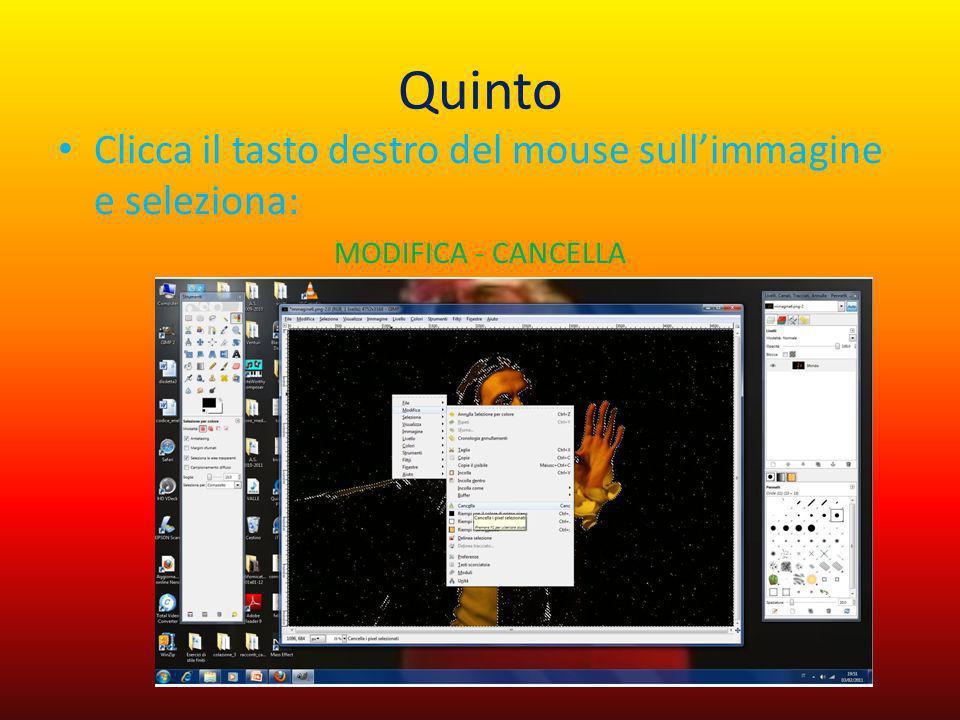 Quinto Clicca il tasto destro del mouse sullimmagine e seleziona: MODIFICA - CANCELLA