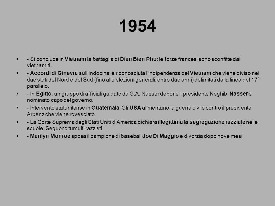 1954 - Si conclude in Vietnam la battaglia di Dien Bien Phu: le forze francesi sono sconfitte dai vietnamiti. - Accordi di Ginevra sullIndocina: è ric