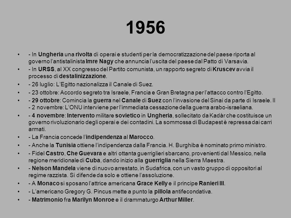 1956 - In Ungheria una rivolta di operai e studenti per la democratizzazione del paese riporta al governo lantistalinista Imre Nagy che annuncia lusci