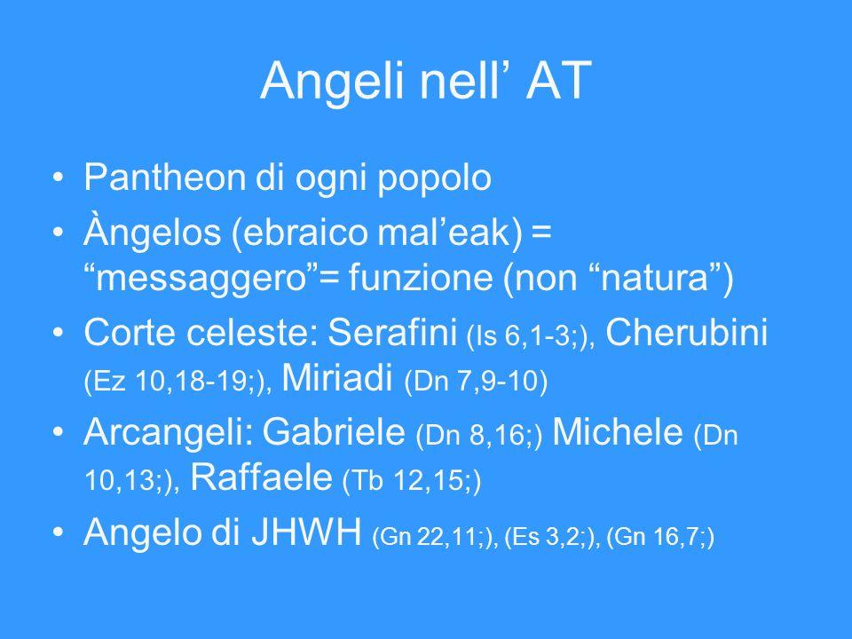 Angeli nell AT Pantheon di ogni popolo Àngelos (ebraico maleak) = messaggero= funzione (non natura) Corte celeste: Serafini (Is 6,1-3;), Cherubini (Ez