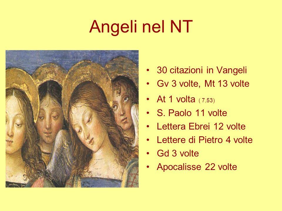 Angeli nel NT 30 citazioni in Vangeli Gv 3 volte, Mt 13 volte At 1 volta ( 7,53) S. Paolo 11 volte Lettera Ebrei 12 volte Lettere di Pietro 4 volte Gd