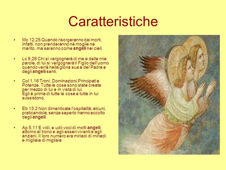 Caratteristiche Mc 12,25 Quando risorgeranno dai morti, infatti, non prenderanno né moglie né marito, ma saranno come angeli nei cieli. Lc 9,26 Chi si
