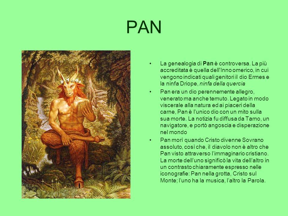 PAN La genealogia di Pan è controversa. La più accreditata è quella dell'Inno omerico, in cui vengono indicati quali genitori il dio Ermes e la ninfa