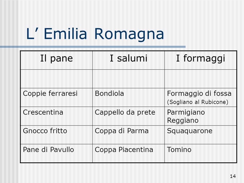 14 L Emilia Romagna Il paneI salumiI formaggi Coppie ferraresiBondiolaFormaggio di fossa (Sogliano al Rubicone) CrescentinaCappello da preteParmigiano