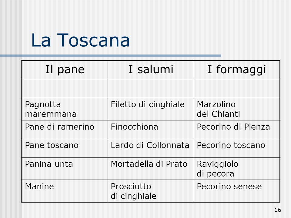 16 La Toscana Il paneI salumiI formaggi Pagnotta maremmana Filetto di cinghialeMarzolino del Chianti Pane di ramerinoFinocchionaPecorino di Pienza Pan