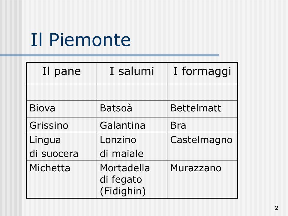 2 Il Piemonte Il paneI salumiI formaggi BiovaBatsoàBettelmatt GrissinoGalantinaBra Lingua di suocera Lonzino di maiale Castelmagno MichettaMortadella di fegato (Fidighin) Murazzano