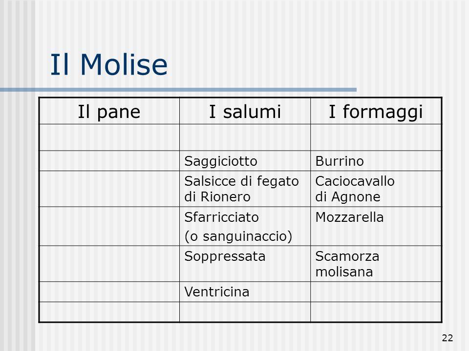 22 Il Molise Il paneI salumiI formaggi SaggiciottoBurrino Salsicce di fegato di Rionero Caciocavallo di Agnone Sfarricciato (o sanguinaccio) Mozzarella SoppressataScamorza molisana Ventricina