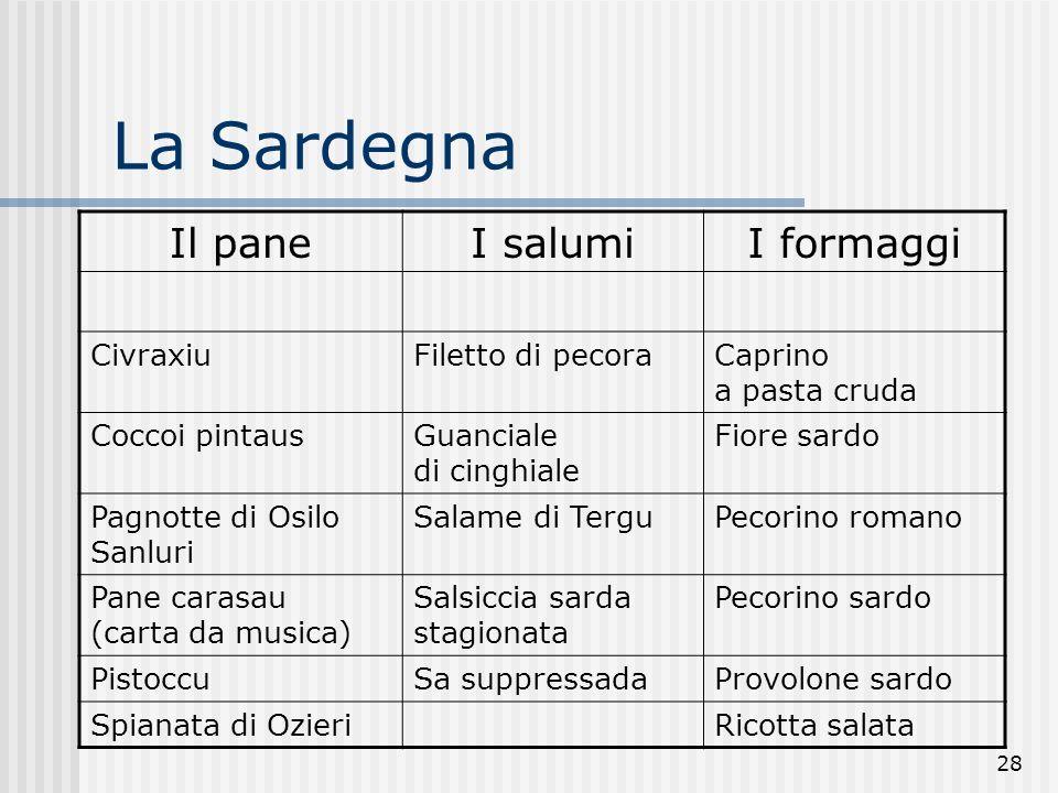 28 La Sardegna Il paneI salumiI formaggi CivraxiuFiletto di pecoraCaprino a pasta cruda Coccoi pintausGuanciale di cinghiale Fiore sardo Pagnotte di O