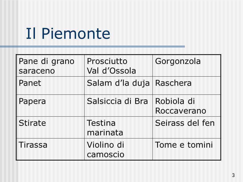 3 Il Piemonte Pane di grano saraceno Prosciutto Val dOssola Gorgonzola PanetSalam dla dujaRaschera PaperaSalsiccia di BraRobiola di Roccaverano StirateTestina marinata Seirass del fen TirassaViolino di camoscio Tome e tomini