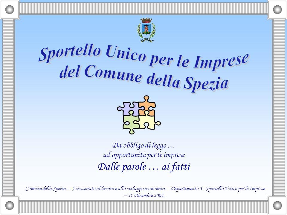 Da obbligo di legge … ad opportunità per le imprese Dalle parole … ai fatti Comune della Spezia – Assessorato al lavoro e allo sviluppo economico -– Dipartimento 3 - Sportello Unico per le Imprese – 31 Dicembre 2004 -