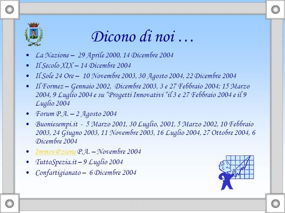 Dicono di noi… La Nazione, Il Secolo XIX, Il Sole 24 Ore, il Formez, Forum P.A., TuttoSpezia.it, Innov@zioneP.A.