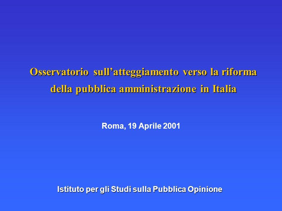 Osservatorio sullatteggiamento verso la riforma della pubblica amministrazione in Italia Roma, 19 Aprile 2001 Istituto per gli Studi sulla Pubblica Op