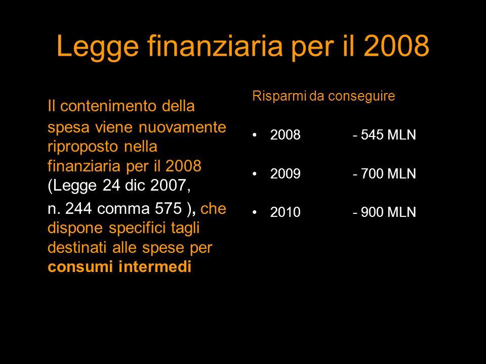 Legge finanziaria per il 2008 Il contenimento della spesa viene nuovamente riproposto nella finanziaria per il 2008 (Legge 24 dic 2007, n. 244 comma 5