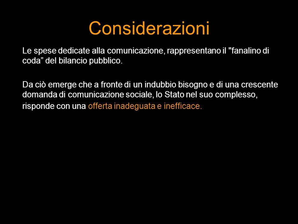 Considerazioni Le spese dedicate alla comunicazione, rappresentano il fanalino di coda del bilancio pubblico.