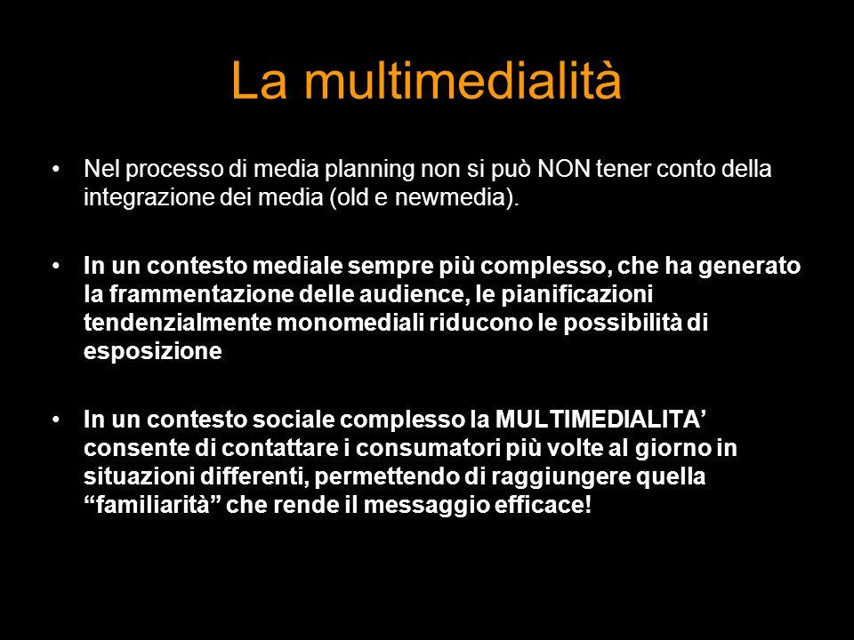 La multimedialità Nel processo di media planning non si può NON tener conto della integrazione dei media (old e newmedia). In un contesto mediale semp