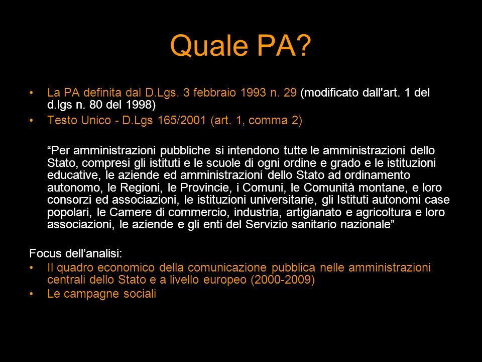 Quale PA? La PA definita dal D.Lgs. 3 febbraio 1993 n. 29 (modificato dall'art. 1 del d.lgs n. 80 del 1998) Testo Unico - D.Lgs 165/2001 (art. 1, comm