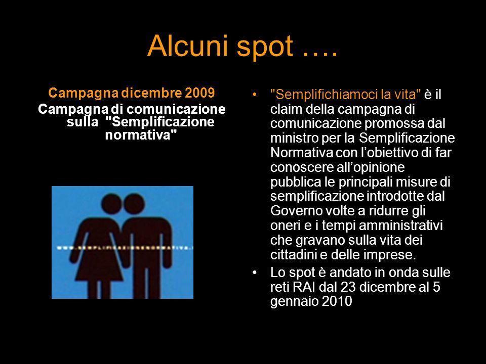 Alcuni spot …. Campagna dicembre 2009 Campagna di comunicazione sulla
