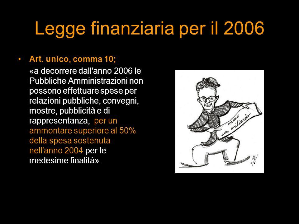 Legge finanziaria per il 2006 Art. unico, comma 10; «a decorrere dall'anno 2006 le Pubbliche Amministrazioni non possono effettuare spese per relazion