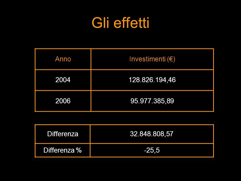 AnnoInvestimenti () 2004128.826.194,46 200695.977.385,89 Differenza32.848.808,57 Differenza %-25,5 Gli effetti