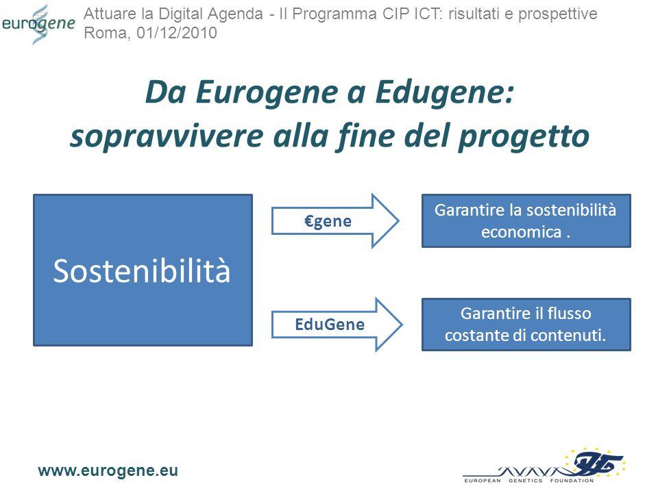 Attuare la Digital Agenda - Il Programma CIP ICT: risultati e prospettive Roma, 01/12/2010 www.eurogene.eu Da Eurogene a Edugene: sopravvivere alla fine del progetto Sostenibilità Garantire la sostenibilità economica.