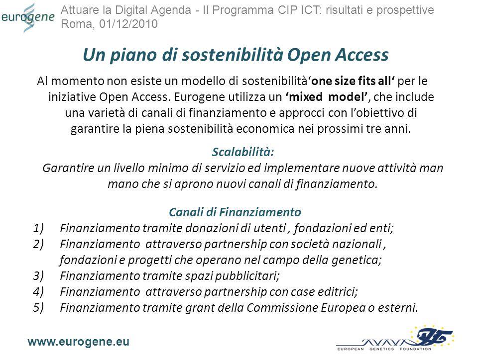 Attuare la Digital Agenda - Il Programma CIP ICT: risultati e prospettive Roma, 01/12/2010 www.eurogene.eu 1) Finanziamento tramite donazioni di utenti, fondazioni ed enti.