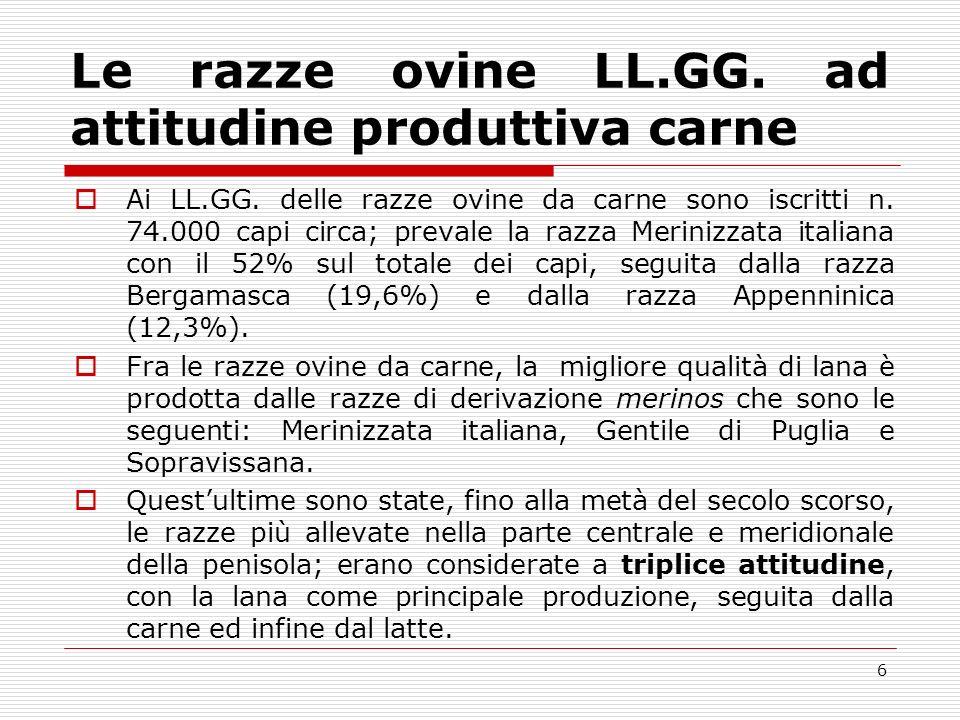 5 Consistenza regionale ISTAT Sardegnan.3.650.000 capi (48,9%) Sicilian.
