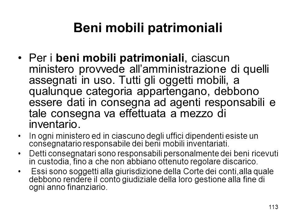 113 Beni mobili patrimoniali Per i beni mobili patrimoniali, ciascun ministero provvede allamministrazione di quelli assegnati in uso.