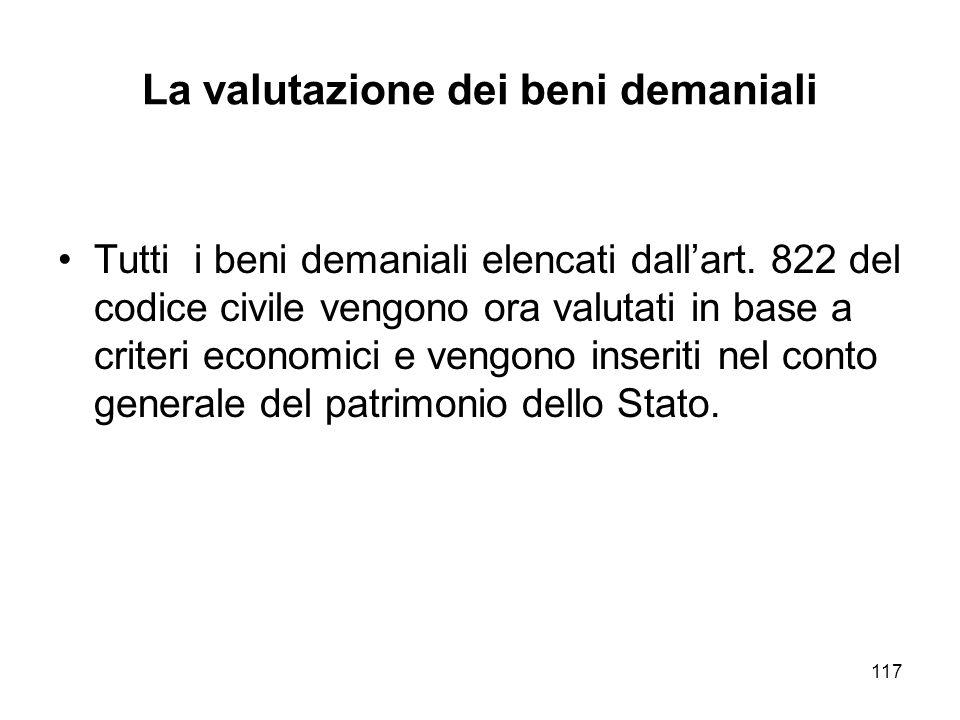 117 La valutazione dei beni demaniali Tutti i beni demaniali elencati dallart.