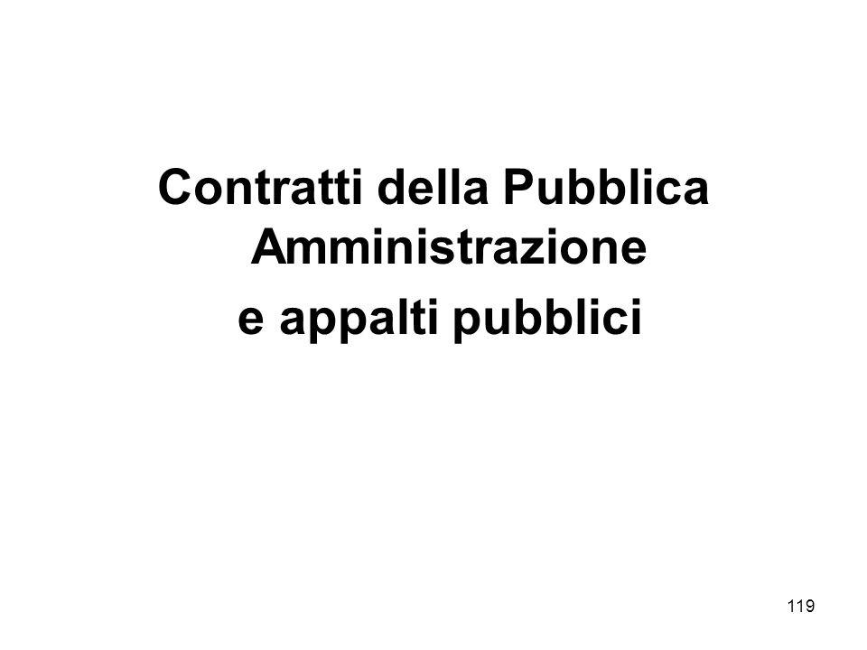 119 Contratti della Pubblica Amministrazione e appalti pubblici
