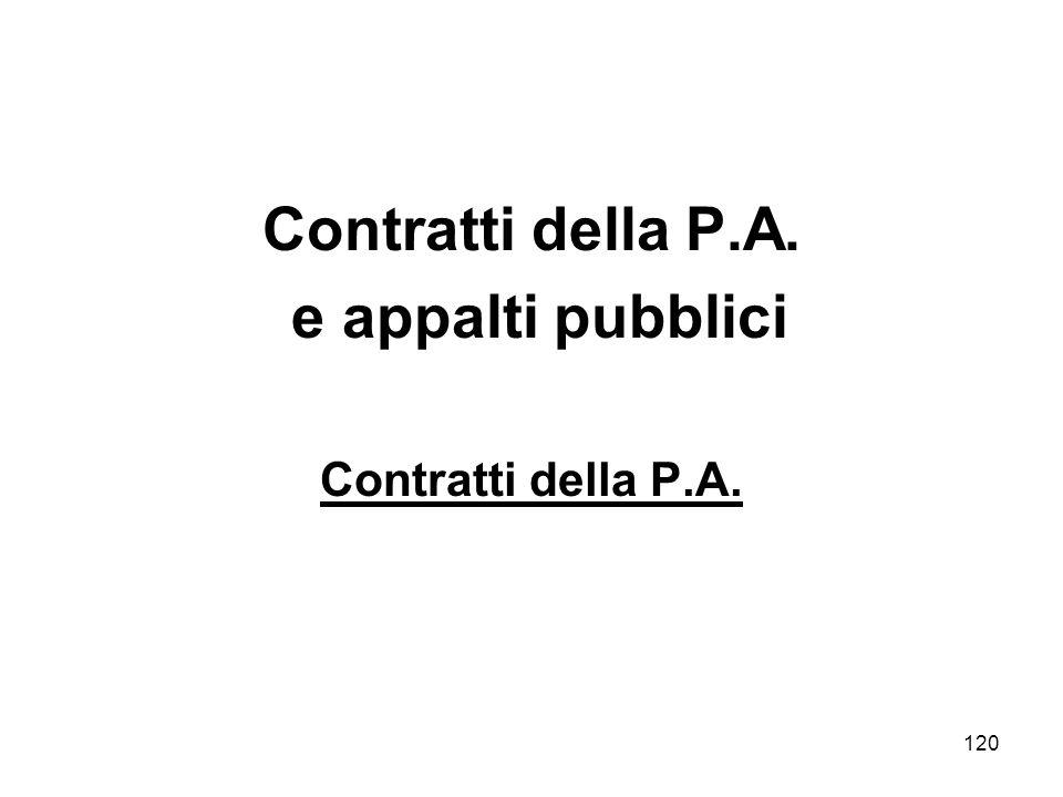 120 Contratti della P.A. e appalti pubblici Contratti della P.A.
