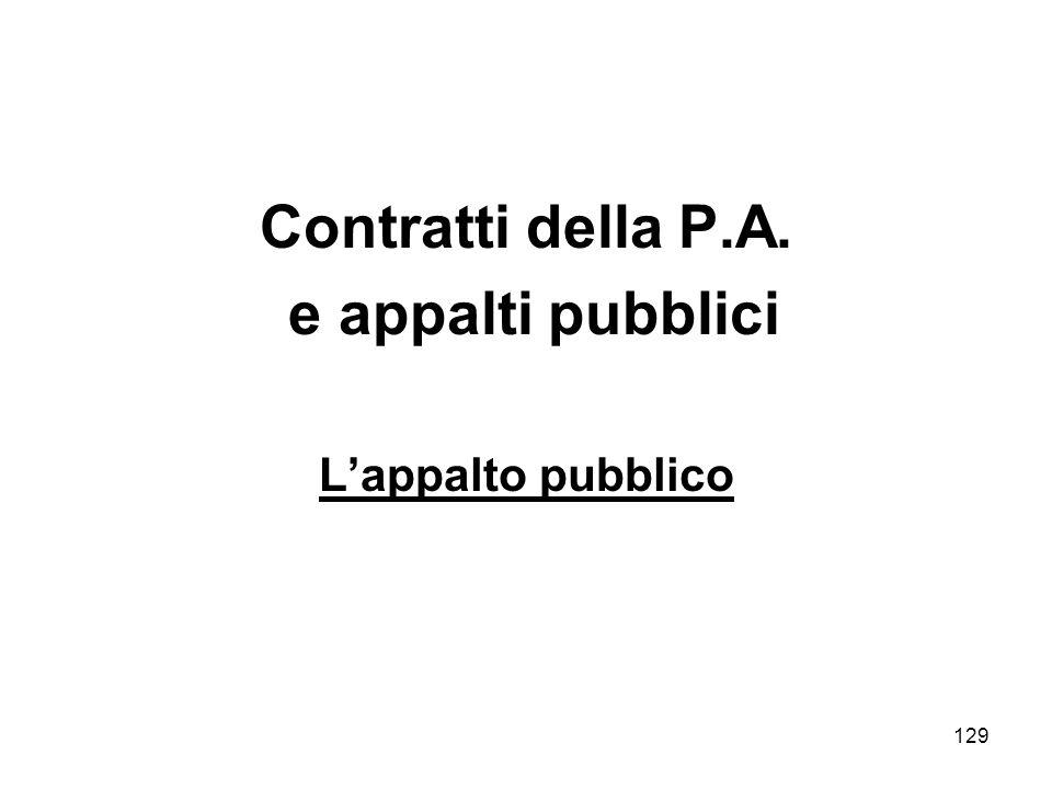 129 Contratti della P.A. e appalti pubblici Lappalto pubblico