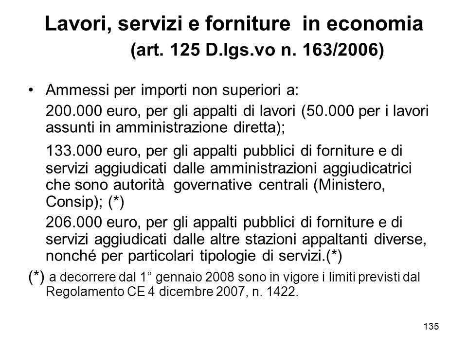 135 Lavori, servizi e forniture in economia (art. 125 D.lgs.vo n.