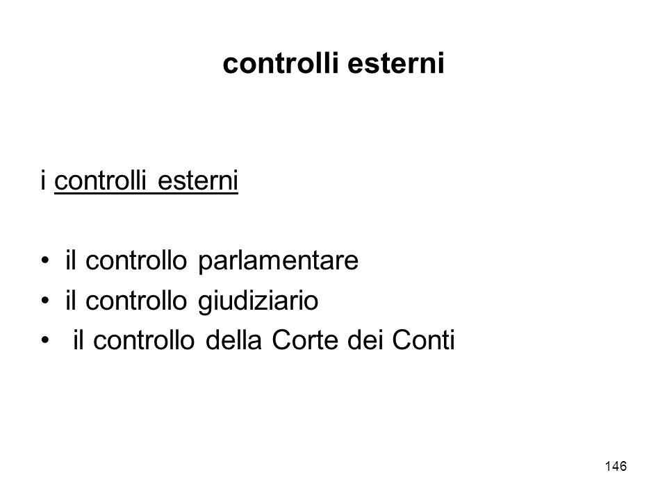 146 controlli esterni i controlli esterni il controllo parlamentare il controllo giudiziario il controllo della Corte dei Conti