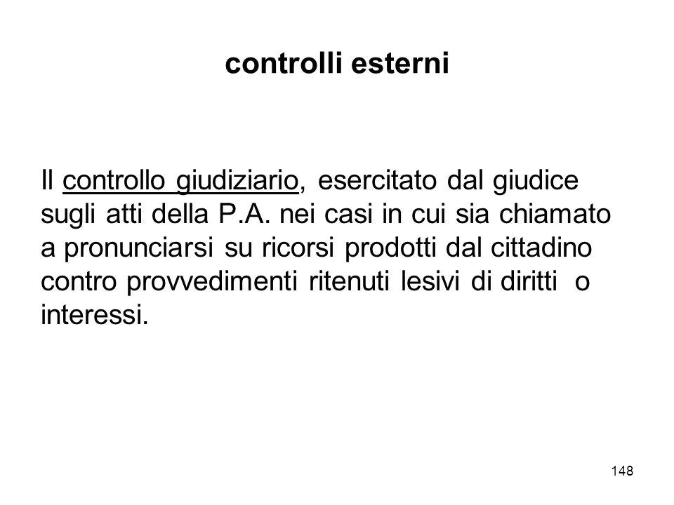 148 controlli esterni Il controllo giudiziario, esercitato dal giudice sugli atti della P.A.