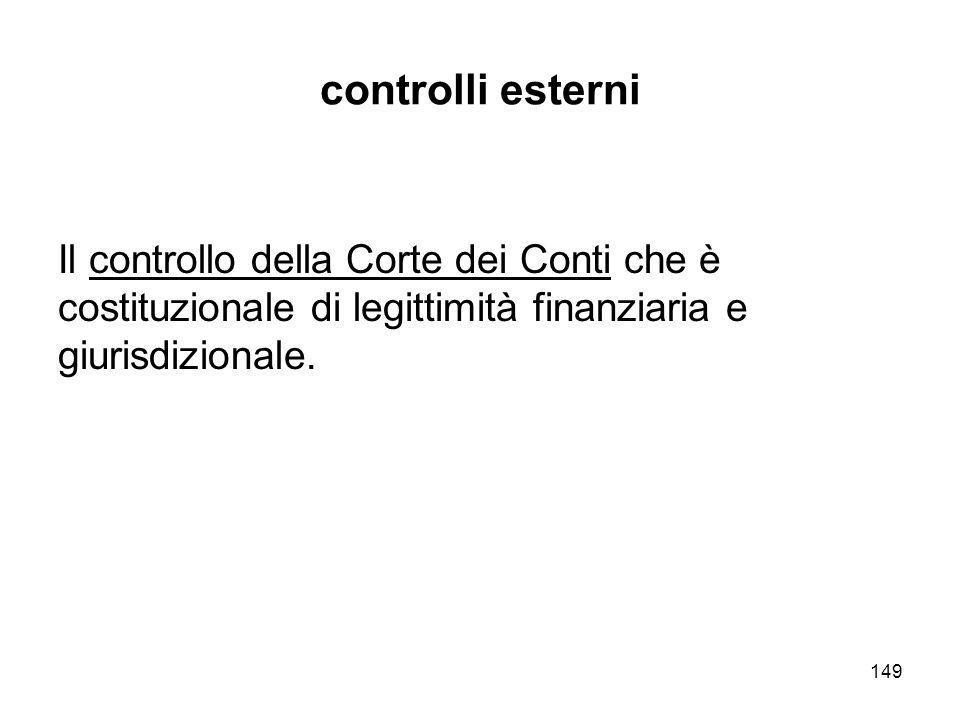 149 controlli esterni Il controllo della Corte dei Conti che è costituzionale di legittimità finanziaria e giurisdizionale.