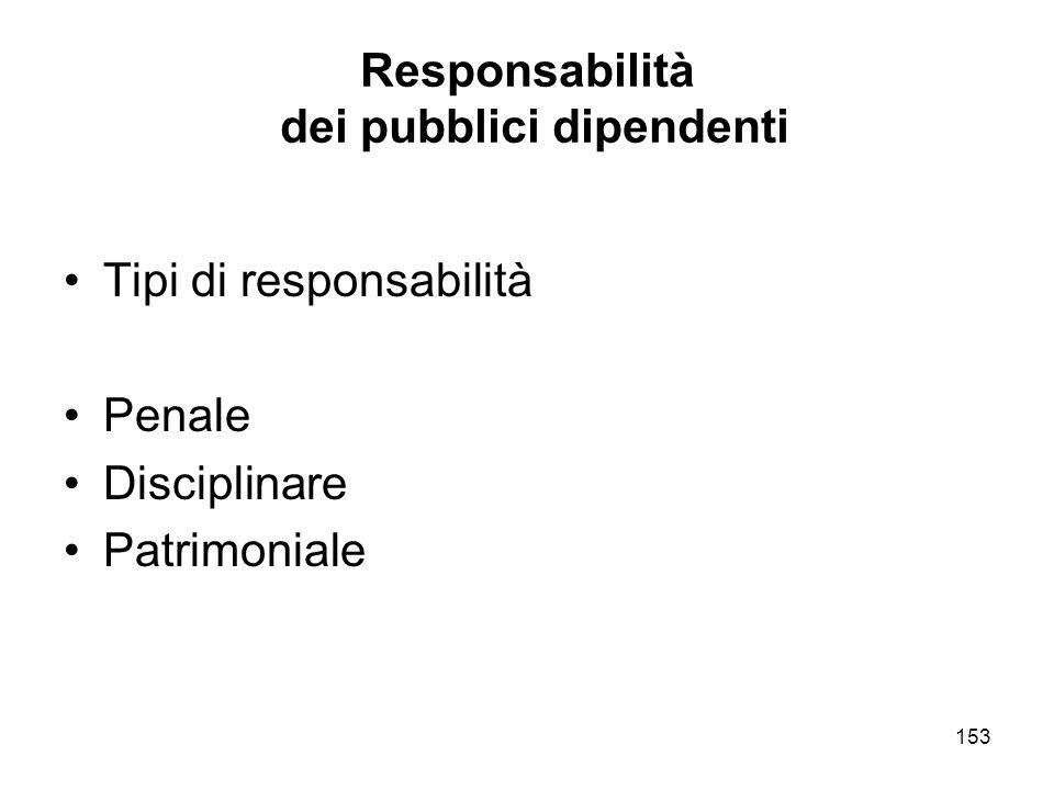 153 Responsabilità dei pubblici dipendenti Tipi di responsabilità Penale Disciplinare Patrimoniale